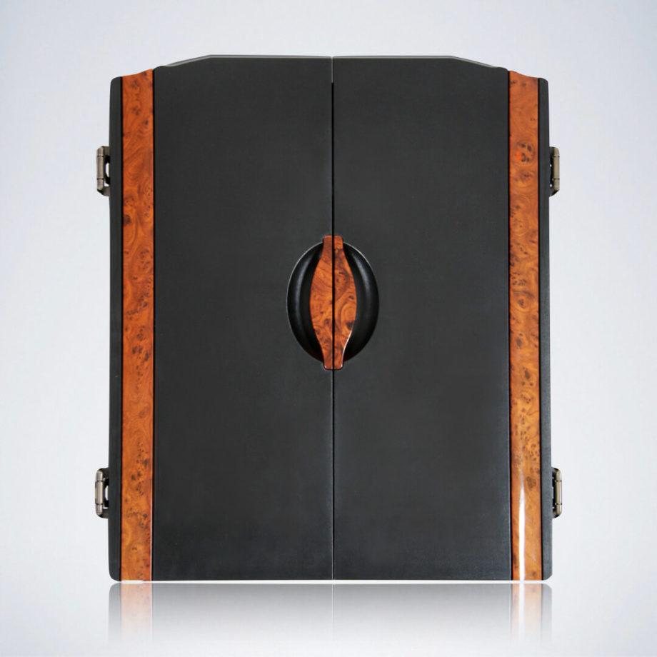 Geschlossenes Dart Kabinett in schwarz/braun vom Dartautomat CB90