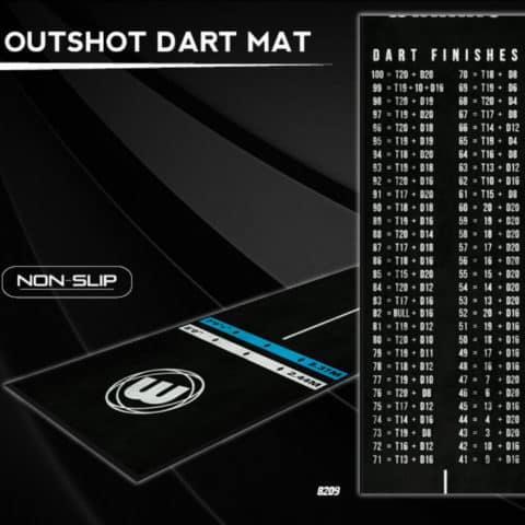 Darts Matte Outshot von Winmau mit Abwurf Markierungen und Checkout Tabelle für Dart Finishes