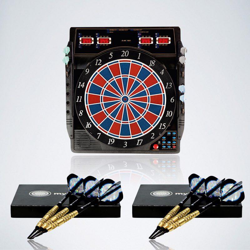 Softdarts Starter Paket für Beginner mit elektronischer Dartscheibe und zwei Softdart Sets