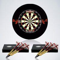 Steeldarts Starter Paket für Beginner mit Dartscheibe, Surround und zwei Steeldart Sets