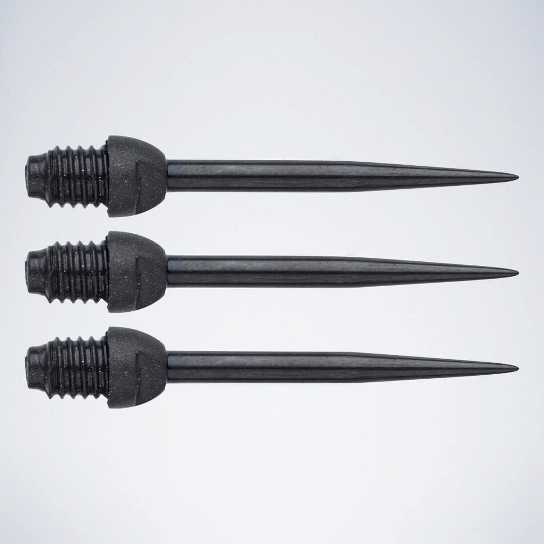 3 schwarze Darts Conversion Points mit Steelspitzen zum Aufschrauben auf Soft Dart Barrels
