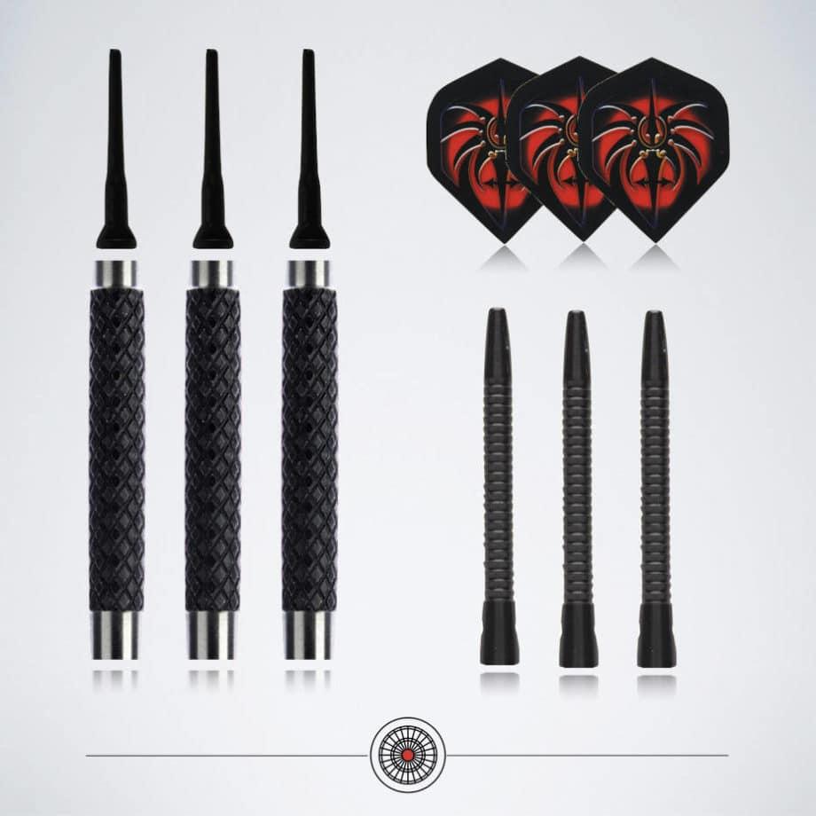 Dart Zubehör in schwarz mit Darts Flights und Schäfte