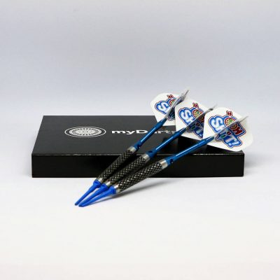 Softdarts in blau mit Dart Case