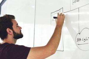 ein Mann der sich einen Plan an eine Tafel schreibt