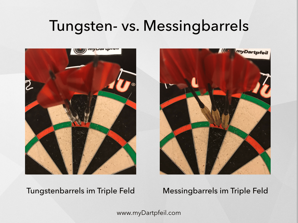 3 Tungsten- und 3 Messingbarrels im Triple 20 Feld