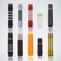 Darts Service Kit 10 Schäfte in rot silber schwarz und blau in verschiedenen Formen und Materialien