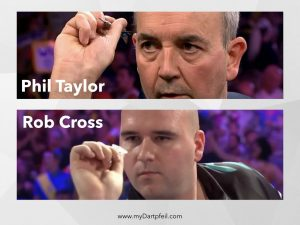 Phil Taylor und Rob Cross Wurf