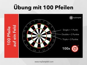Dart Training Übung mit 100 Dartpfeilen