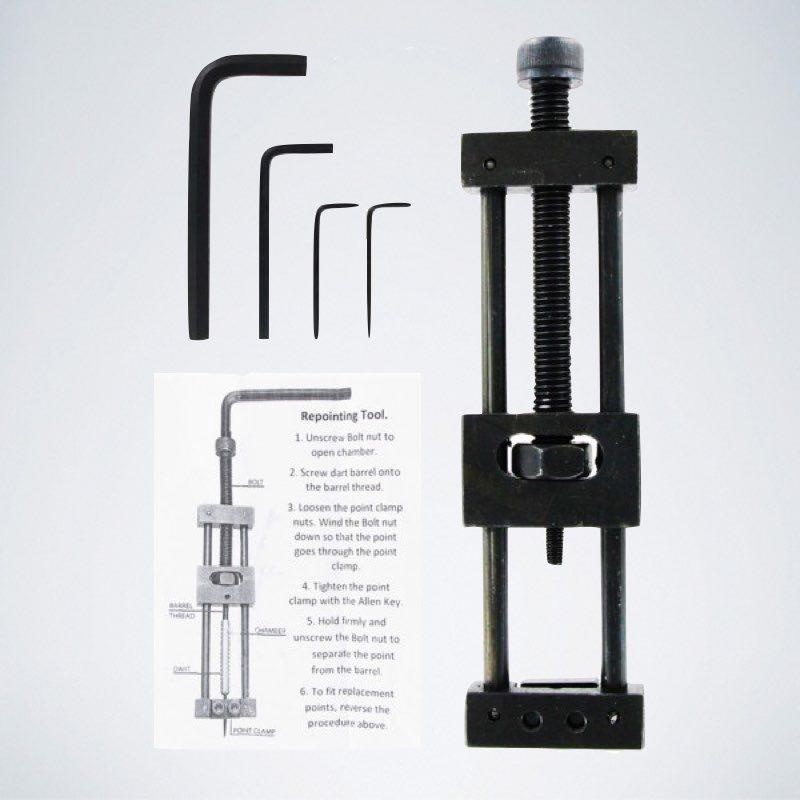 Schwarzes Darts Repointing Toll / Spitzenwechselmaschine mit Anleitung und verschiedenen Imbusschlüsseln