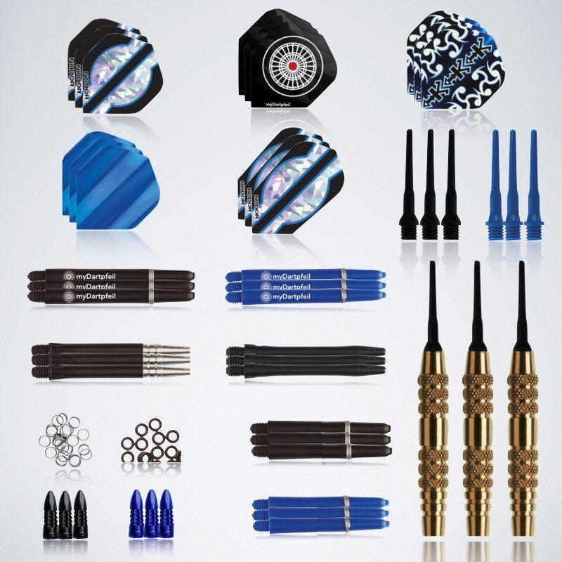 Softdarts Zubehör Service Kit 48 Teile Barrels, Schäfte, Flights, Ringe, Protektoren und Ringe