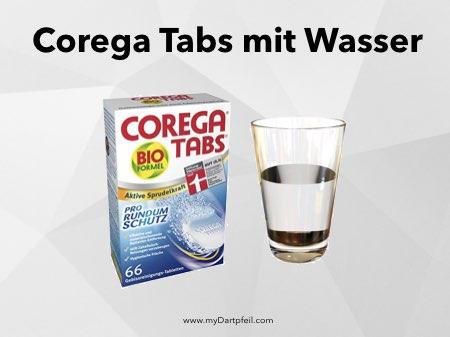 Darts reinigen mit Corega Tabs