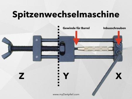 Spitzenwechselmaschine für Darts und Dartpfeile mit Dartspitzen