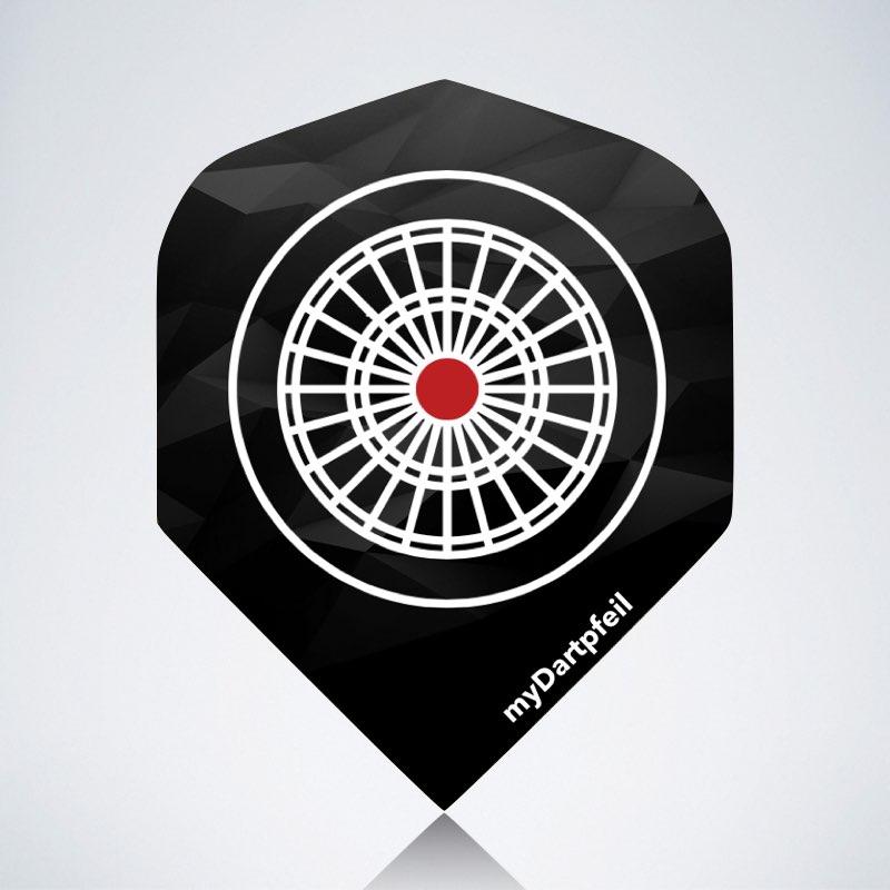 Flight mit dem myDartpfeil Logo vor schwarzem/grauen Hintergrund