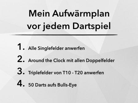 Aufwärmplan vor Dartspiel mit 4 verschiedenen Schritten mit Aufwärmübungen für die Spielvorbrereitung