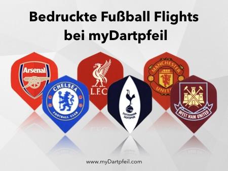 Dart Flights mit Logo von Fußball Clubs aus Premier League