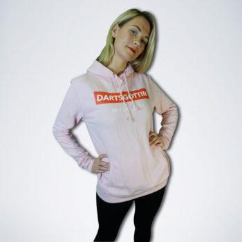 """pinker Pullover mit weißen Schriftzug """"Dartsgöttin"""" auf rot"""