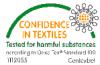 Confidence in Textiles Siegel auf weißem Hintergrund