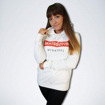 """weißer Damen Pullover mit weißem Schriftzug """"Dartsgöttin"""" auf rot"""