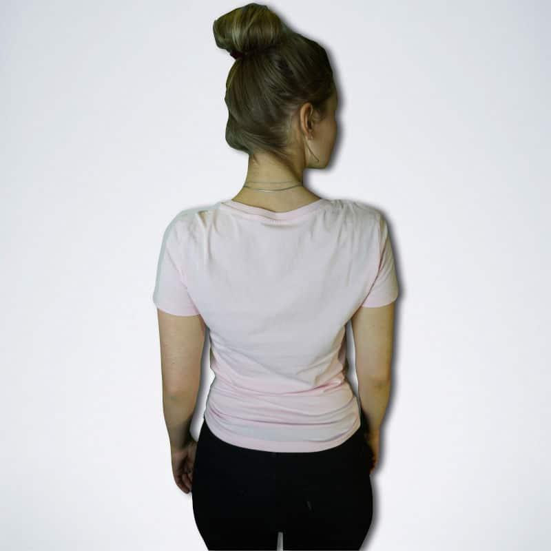 pinkes Damen T-Shirt von hinten