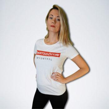 """weißes Damen T-Shirt mit weißem Schriftzug """"Dartsgöttin"""" auf rot von vorn"""