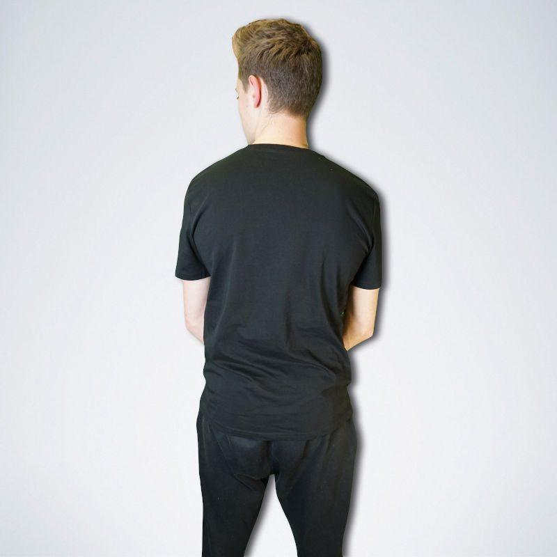 schwarzes Unisex T-Shirt von hinten