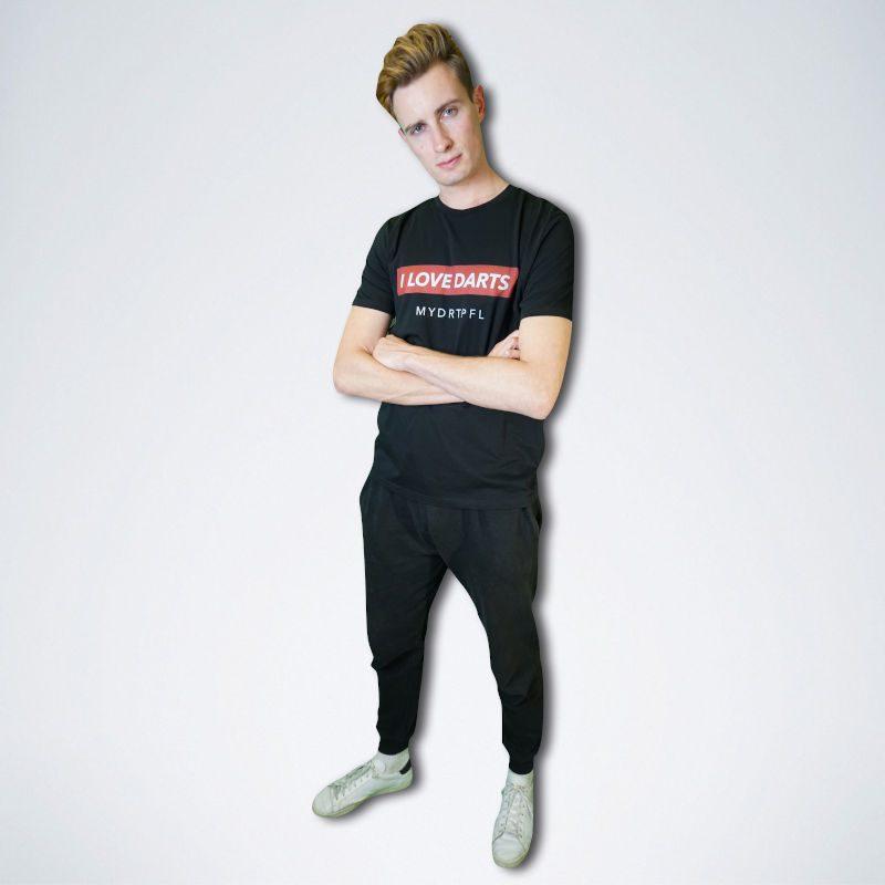schwarzes Unisex T-Shirt mit weißem Schriftzug