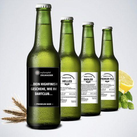 Biersorten Darts Bier Radler Helles Pils mit Etiketten Vorderseite und Rückseite