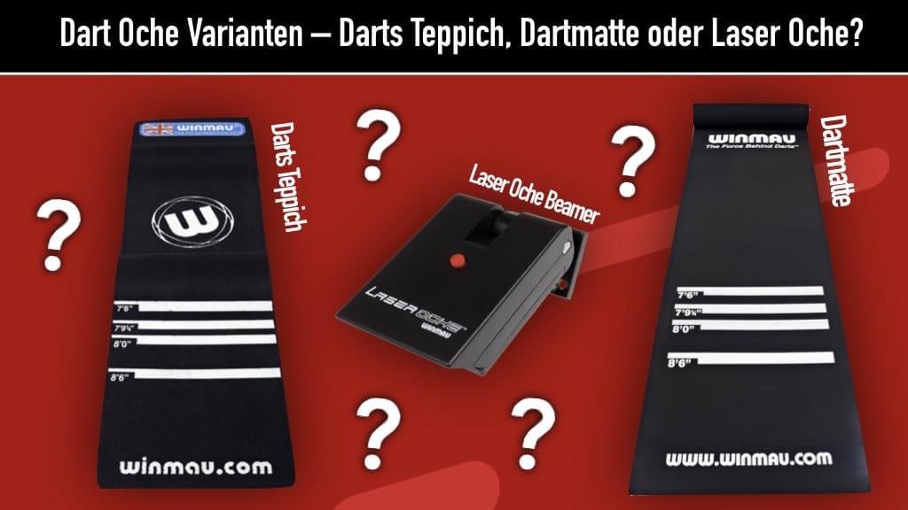 Verschiedene Dart Oche Varianten: Dartmatte, Darts Teppich und Laser Oche Beamer