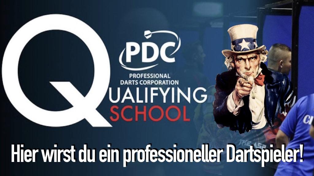 PDC Q-School Logo, weiße Buchstaben, Uncle Sam