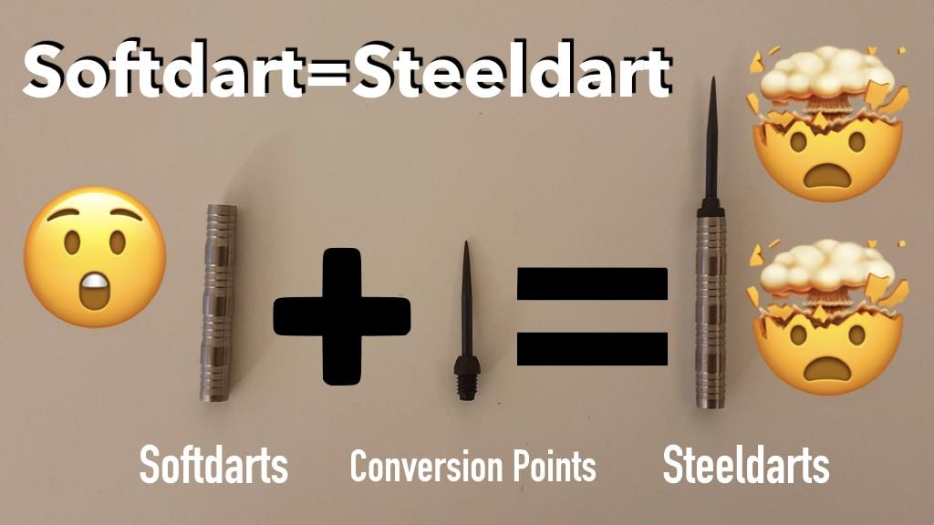 Softdart, Conversion Point, ergibt Steeldart, Pluszeichen, Gleichzeichen, schockierende Emojis