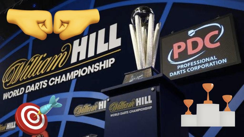 Im Vordergrund ist ein Pokal zu sehen, PDC Logo, Emojis, Turnier, Wettbewerb
